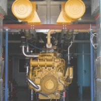 The heat recovered from this Caterpillar gas powered generator provides high pressure steam for a food processing factory.